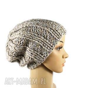 grubaśna czapka robiona na drutach, czapka, zima, dziergana