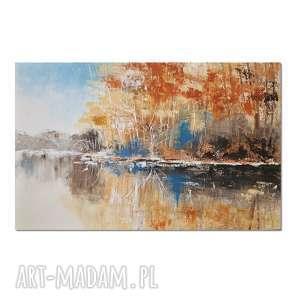Nad jeziorem, impresja, obraz ręcznie malowany, las, jezioro, pejzaż, obraz,