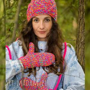 rękawiczki tropiki kolorowe, zimowe, na sznurku, ocieplane cool