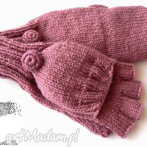 bezpalczatki z klapką #4, rękawiczki, mitenki, klapka, bezpalczatki, druty