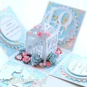 zaproszenia pudełeczko eksplodujące, prezent, ślub, chrzest, komunia