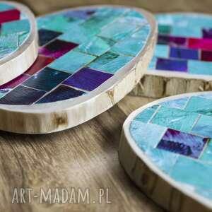 drewniane podkładki - mozaika 3, kawa, herbata, kubek, mozaika, drewniane, folk