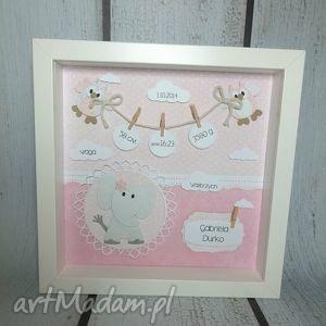 Prezent Różowa metryczka ze słonikiem, metryczka, narodziny, chrzest, urodziny