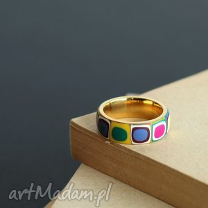 obrączka ze stali - obrączki, pierścionki, kolorowe, tęczowe