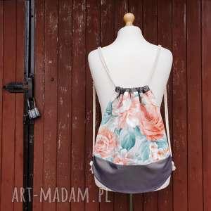 plecak worek kwiaty - ,plecak,worek,kwiaty,romantyczny,pastelowy,oversize,