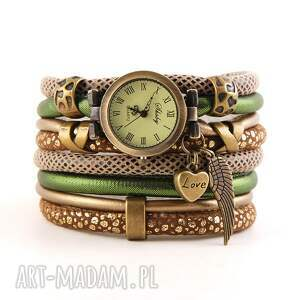 zegarki zegarek - bransoletka, zielono - brązowy, zegarek