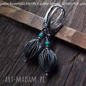 szarotka turquoise point kolczyki z turkusów i srebra, turkusy, srebro, oksydowane