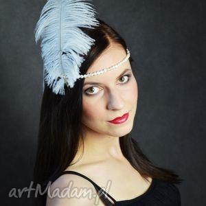 myrtle, opaska, pióra, perły ozdoby do włosów, świąteczny prezent