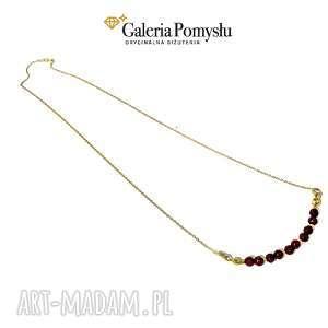 jadeit rubinowy - delikatny, naszyjnik, kamienie, srebro, 925, złocone
