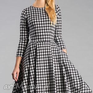 sukienka zuza midi pepitka, sukienka, rozkloszowana, elegancka, kokardka