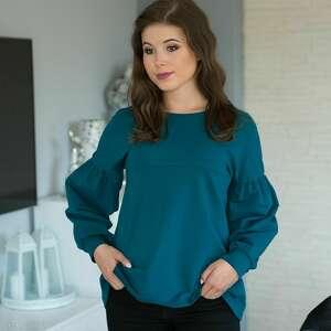bluzki lala bluzka trapezowa z bufiastym rękawem, szmaragd rozmiar 38, lala