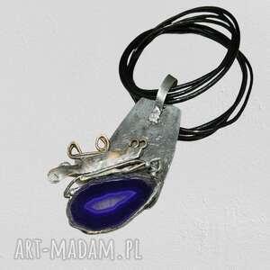 fioletowy agat-n64, wisior, agat, unikatowa biżuteria, wisior metal