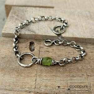 srebro i peridot - bransoleta łańcuszkowa - zielone, srebro bransoletka