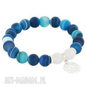 mat blue agate with white jade & flower - kwiatek, jadeit