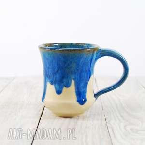 Kubek niebieski zaciekowy, do-kawy, do-herbaty, do-pracy, ceramiczny