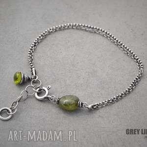 Delikatna z zielonym szafirem i peridotem, szafir, peridot, szlachetne, srebro