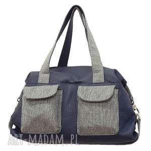 na ramię 09-0002 granatowa torba sportowa / torebka fitness tit, markowe torebki