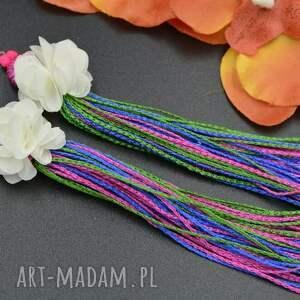 kolczyki z chwostami i kwiatkiem, koralikowe, kolczyki, eleganckie, wizytowe