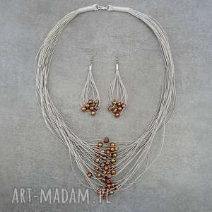 brązowe perły komplet biżuterii lnianej