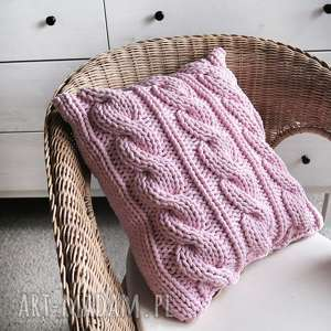 Poduszka w warkocze 45 x cm, sznurek, bawełna, ze-sznurka, warkocze, dziergane