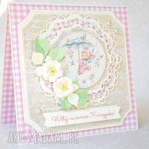 Kartka Witaj na świecie Kruszynko, kartka, dziecko, dziewczynka, życzenia, narodziny