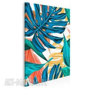 obraz na płótnie - liście tropikalne kolorowy w pionie 50x70 cm 92303