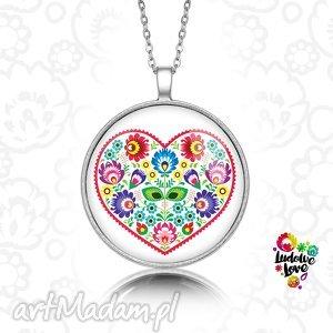 medalion okrągły ludowe serce - folk, polskie, wzory, prezent, lowickie, wycinanki