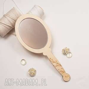 lusterko z gałązką, lusterko, grawer, chrzest, prezent, roczek, drewno