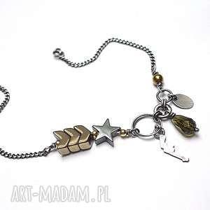 Pagony - bransoletka, srebro, oksydowane, hematyty, kwarc, militarny, pozłacane