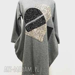 Dress code-sukienka, dresowa, bawełniana, szara, midi, elegancka, aplikacje
