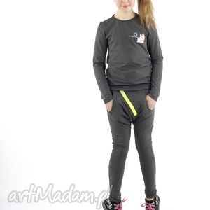 ubranka spodnie baggy z obniżonym krokiem kolor grafitowy, spodnie, dziewczynka, moda