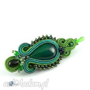 sutaszowa zielona broszka - broszka, przypinka, szal, sutasz, soutache