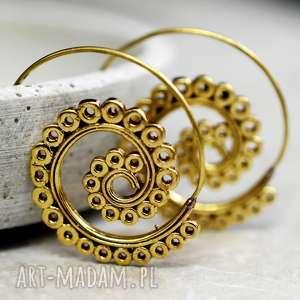 Bubbles spiralne kolczyki, spirale, lekkie, kobiece, delikatne, pozłacane, orientalne