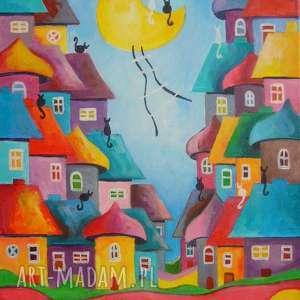 obraz na płótnie - bajkowe miasteczko-abstrakcja 40/30 cm, abstrakcja, niebieski