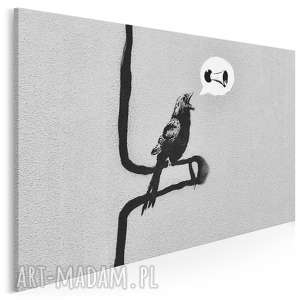 obraz na płótnie - banksy ptak 120x80 cm 20020, banksy, streetart, graffiti