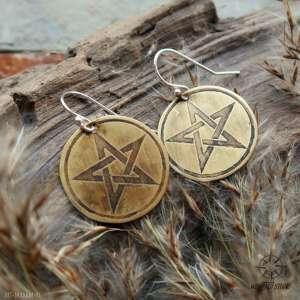 kolczyki z trawionego mosiądzu - pentgram 019 - pentagram, pentakl, kolczyki
