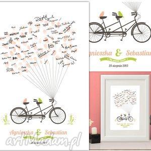 wiosenny tandem wpisów gości weselnych 50x70 cm, ślub, wesele, księga