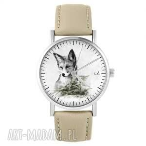 zegarki zegarek - lis skórzany, beżowy, zegarek, pasek, lis, paproć