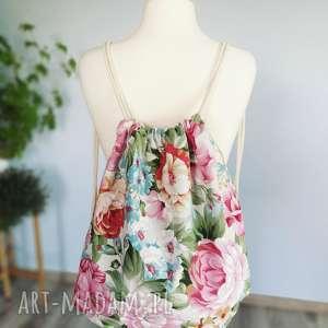 plecak w kwiaty worek vintage, plecak, worek, torebka, kwiaty, vintage