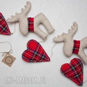 girlanda świąteczna kratka serca renifery, renifer, serduszko, zawieszka, święta