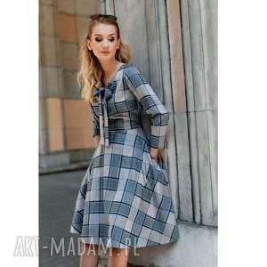 Sukienka CHLOE Midi Jenna, krata, wiązanie, midi, kieszenie, rozkloszowana, kokarda