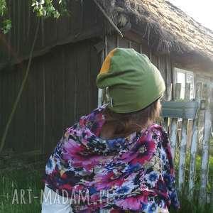 czapka damska męska zielona żółta sport dresowa, czapka, dzianina, sport, bieganie