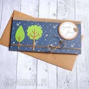 ręcznie robione kartki kartka - kopertówka: drzewka: niebo
