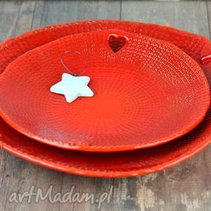ręcznie wykonane ceramika komplet pater ceramicznych heart