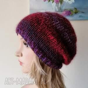 ciepła, puchata, zimowa czapka, rękodzieło, bezszwowa czapka na druta, ręcznie