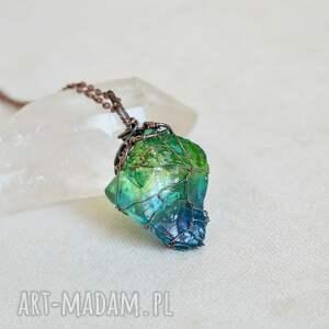 blue-green net - naszyjnik z kryształem, wisior kryształ