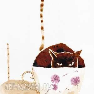 Kocia Kawa - obraz kawą i piórkiem malowany, kawa, kot, filiżanka, retro
