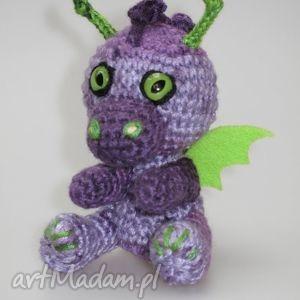 mały smoczek fioletowo-zielony - smok, smoczek, maskotka, prezent, breloczek