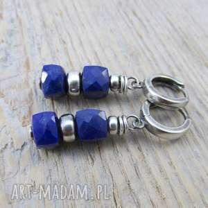 irart nieregularne bryłki z lapis lazuli - kolczyki, lapis, srebro