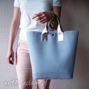 hand made shopper bag pastelowa torba xl skóra metalik